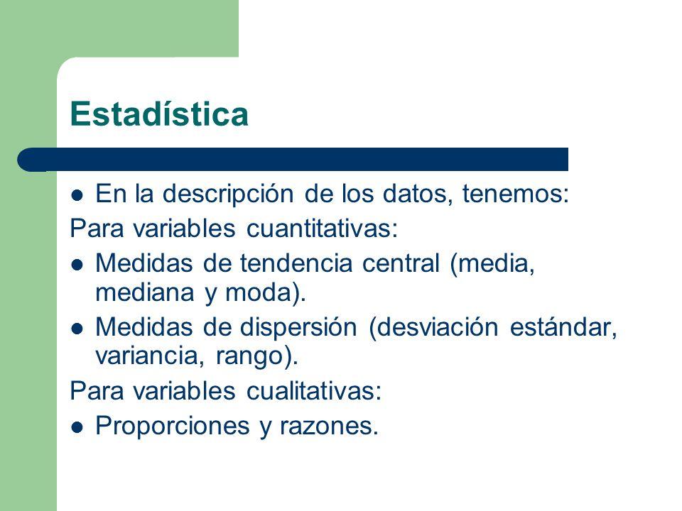 Estadística En la descripción de los datos, tenemos: Para variables cuantitativas: Medidas de tendencia central (media, mediana y moda). Medidas de di