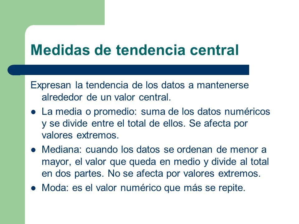 Medidas de tendencia central Expresan la tendencia de los datos a mantenerse alrededor de un valor central.