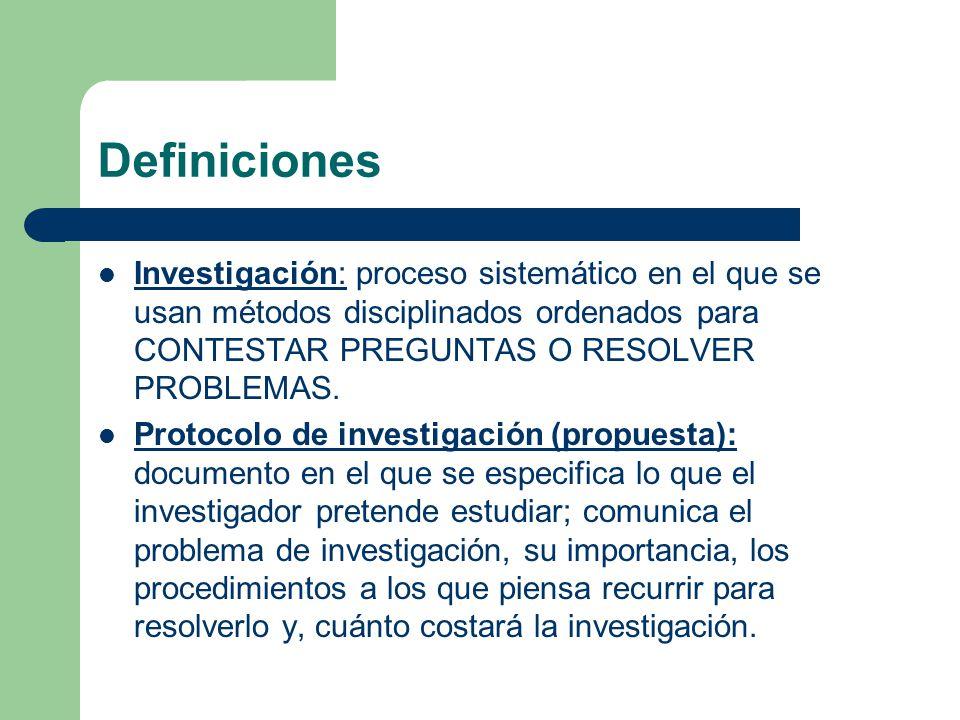 Definiciones Investigación: proceso sistemático en el que se usan métodos disciplinados ordenados para CONTESTAR PREGUNTAS O RESOLVER PROBLEMAS. Proto