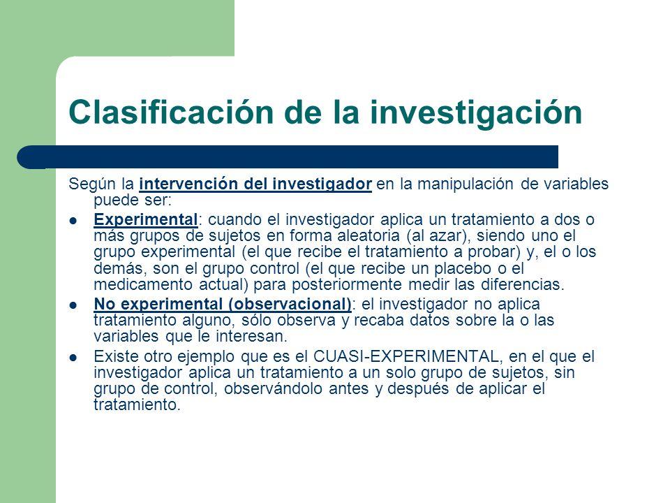 Clasificación de la investigación Según la intervención del investigador en la manipulación de variables puede ser: Experimental: cuando el investigad