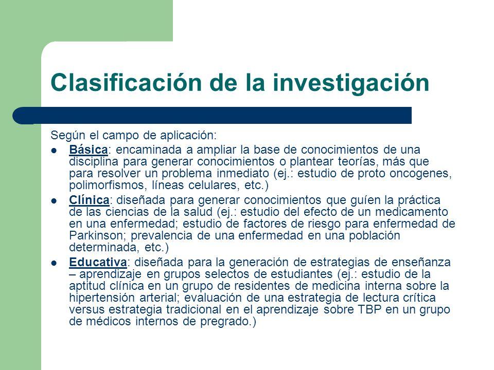 Clasificación de la investigación Según el campo de aplicación: Básica: encaminada a ampliar la base de conocimientos de una disciplina para generar c