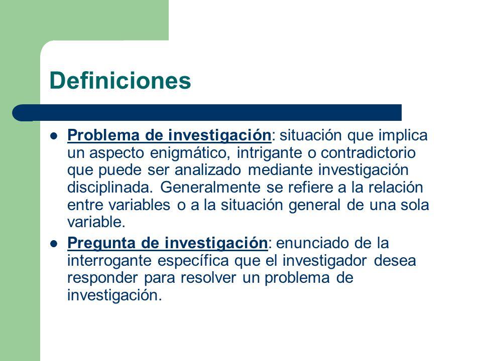 Definiciones Problema de investigación: situación que implica un aspecto enigmático, intrigante o contradictorio que puede ser analizado mediante investigación disciplinada.