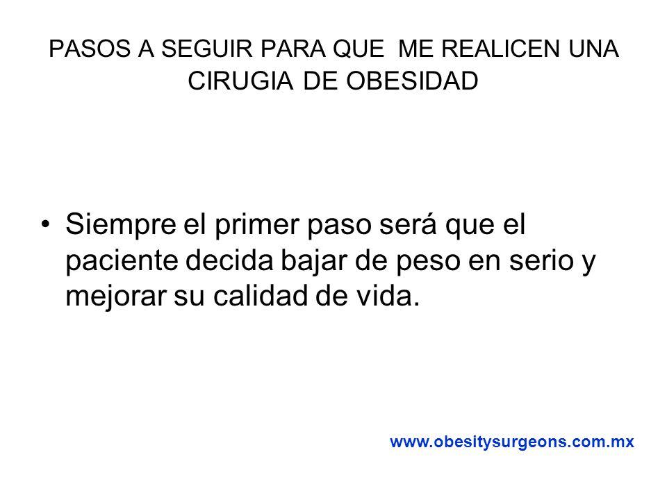 PASOS A SEGUIR PARA QUE ME REALICEN UNA CIRUGIA DE OBESIDAD AntesDespués www.obesitysurgeons.com.mx 8 meses 1 año y 2 meses