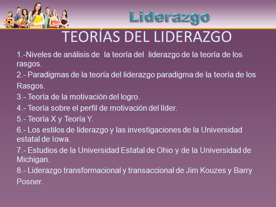 TEORÍAS DEL LIDERAZGO 1.-Niveles de análisis de la teoría del liderazgo de la teoría de los rasgos. 2.- Paradigmas de la teoría del liderazgo paradigm