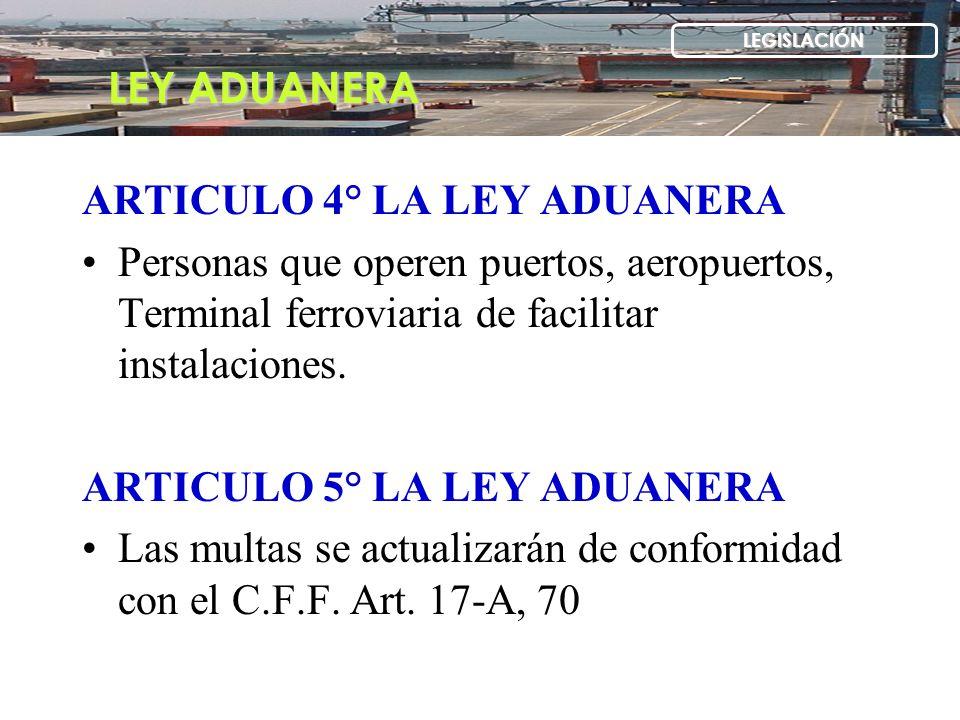 ARTICULO 4° LA LEY ADUANERA Personas que operen puertos, aeropuertos, Terminal ferroviaria de facilitar instalaciones. ARTICULO 5° LA LEY ADUANERA Las