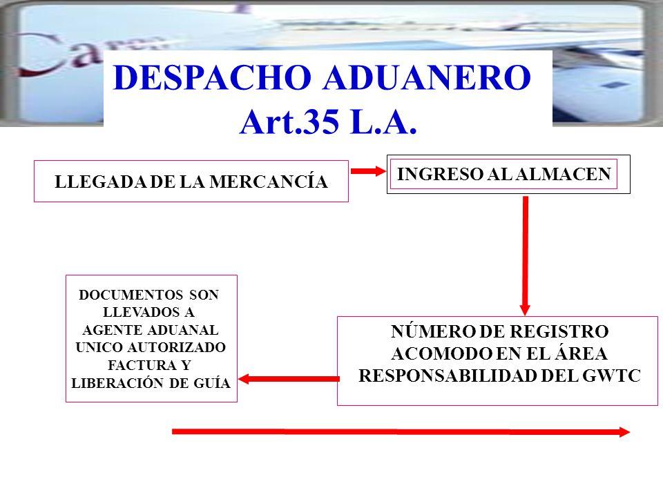 DOCUMENTOS SON LLEVADOS A AGENTE ADUANAL UNICO AUTORIZADO FACTURA Y LIBERACIÓN DE GUÍA LLEGADA DE LA MERCANCÍA INGRESO AL ALMACEN DESPACHO ADUANERO Ar