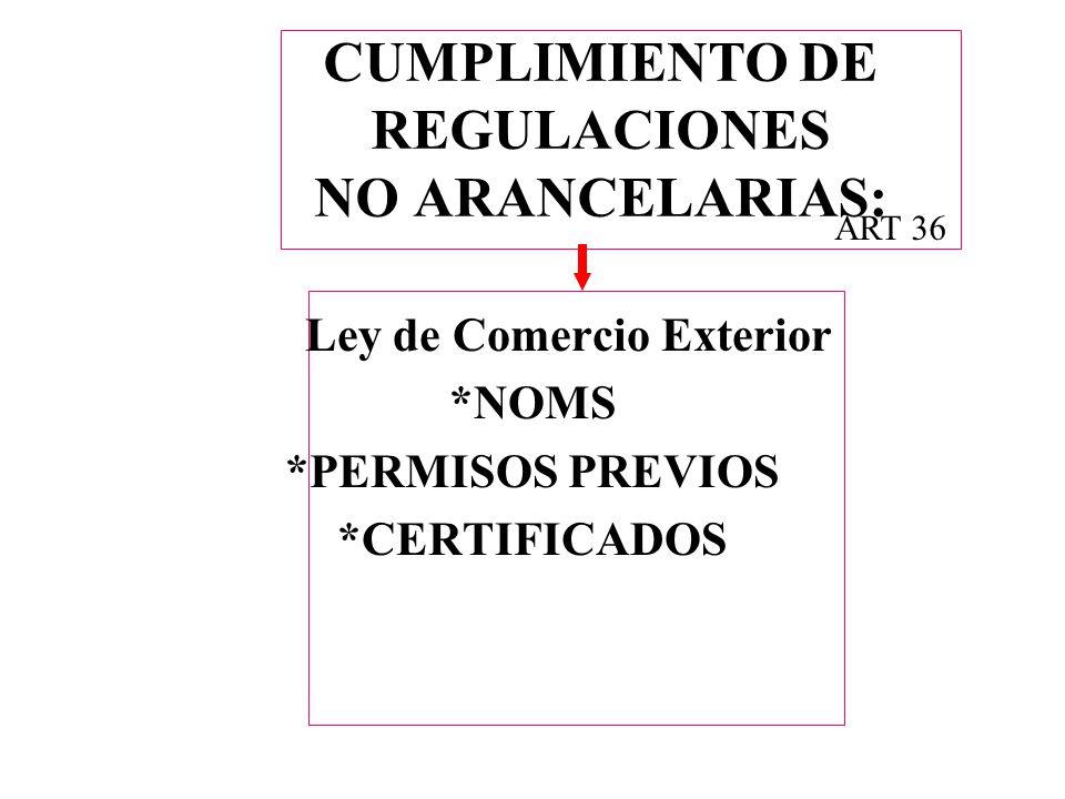 CUMPLIMIENTO DE REGULACIONES NO ARANCELARIAS: Ley de Comercio Exterior *NOMS *PERMISOS PREVIOS *CERTIFICADOS ART 36