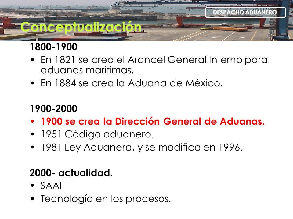 1800-1900 En 1821 se crea el Arancel General Interno para aduanas marítimas. En 1884 se crea la Aduana de México. 1900-2000 1900 se crea la Dirección