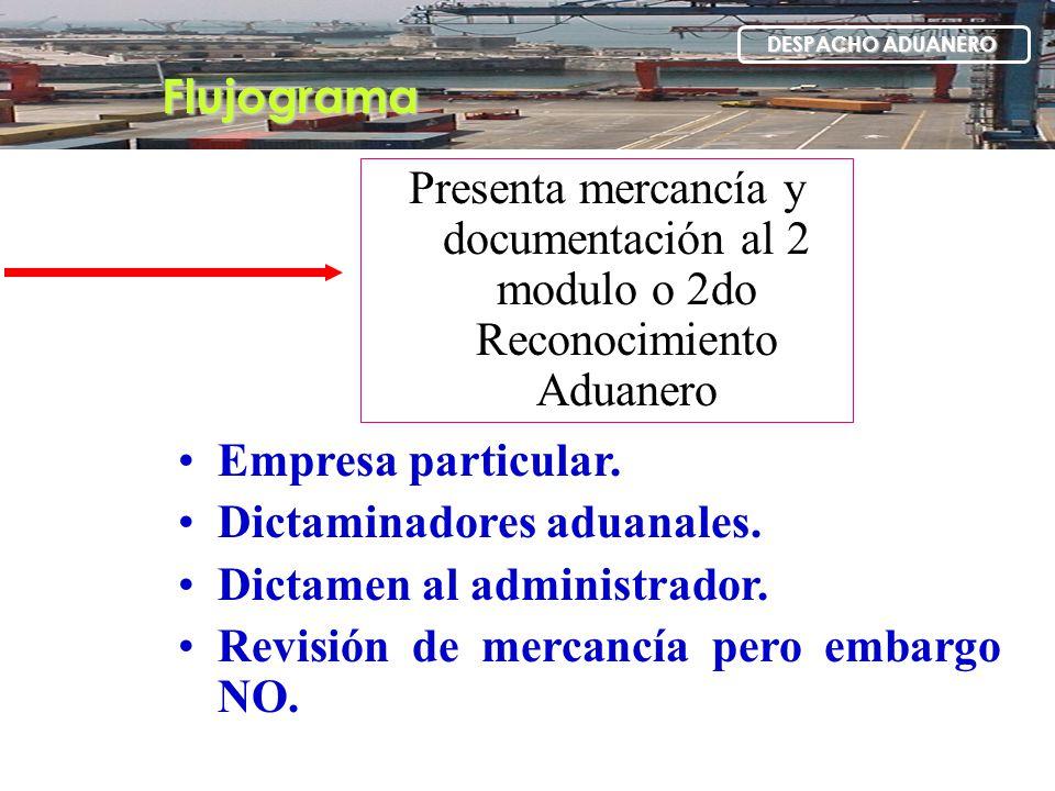 Flujograma DESPACHO ADUANERO Presenta mercancía y documentación al 2 modulo o 2do Reconocimiento Aduanero Empresa particular. Dictaminadores aduanales