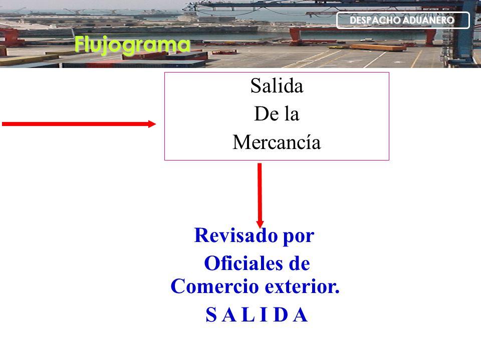 Flujograma DESPACHO ADUANERO Salida De la Mercancía Revisado por Oficiales de Comercio exterior. S A L I D A