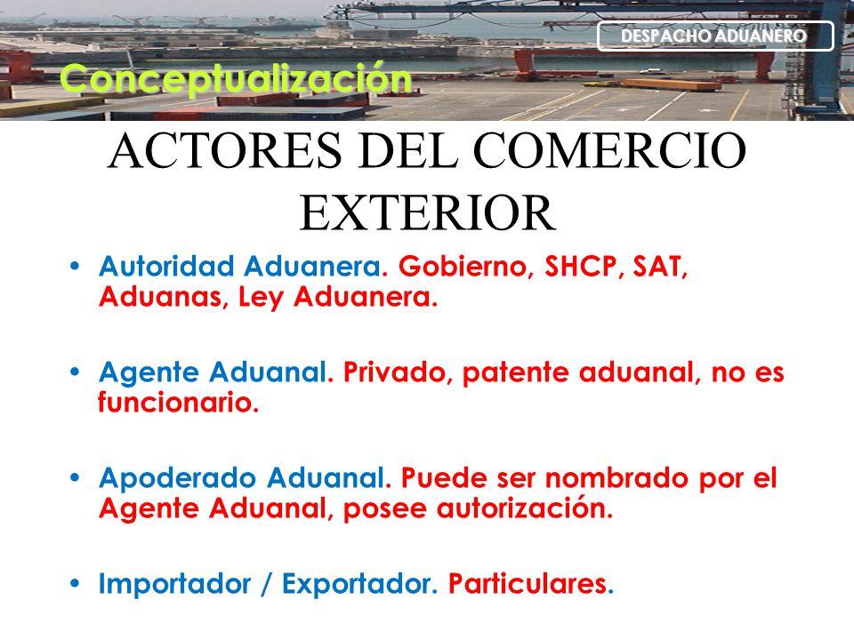 ACTORES DEL COMERCIO EXTERIOR Autoridad Aduanera. Gobierno, SHCP, SAT, Aduanas, Ley Aduanera. Agente Aduanal. Privado, patente aduanal, no es funciona