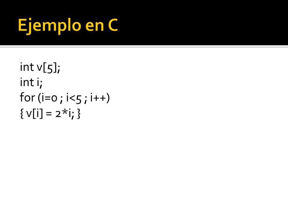 int v[5]; int i; for (i=0 ; i<5 ; i++) { v[i] = 2*i; }