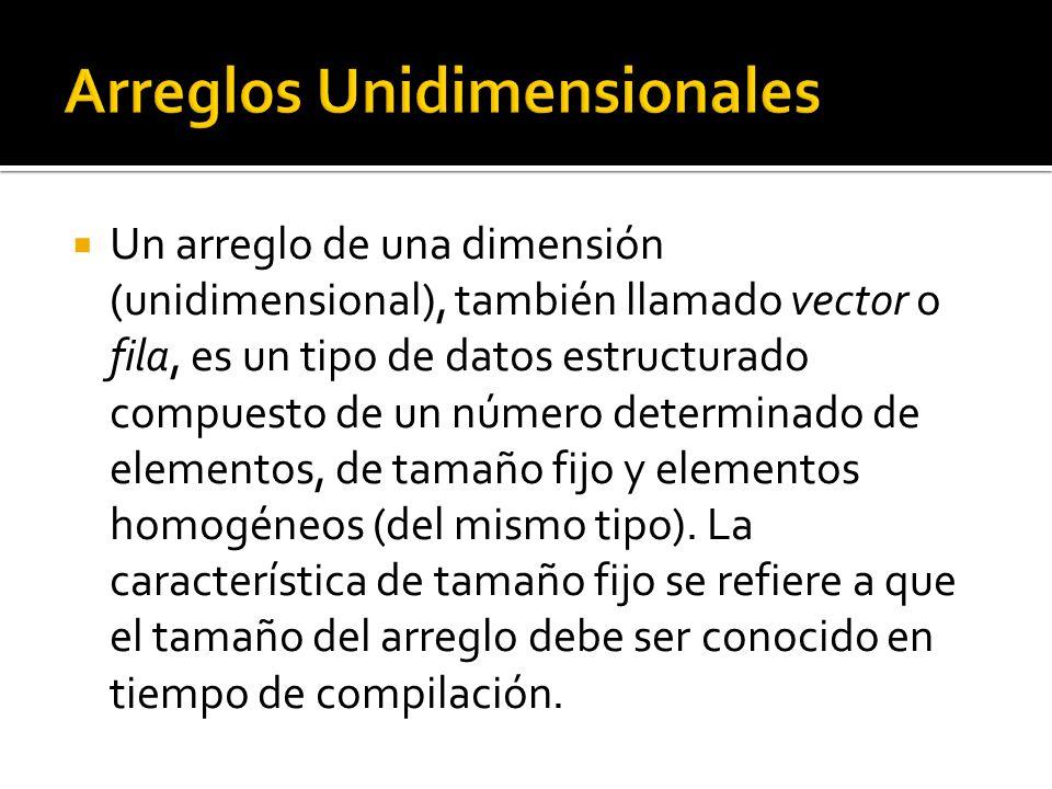 Un arreglo de una dimensión (unidimensional), también llamado vector o fila, es un tipo de datos estructurado compuesto de un número determinado de elementos, de tamaño fijo y elementos homogéneos (del mismo tipo).