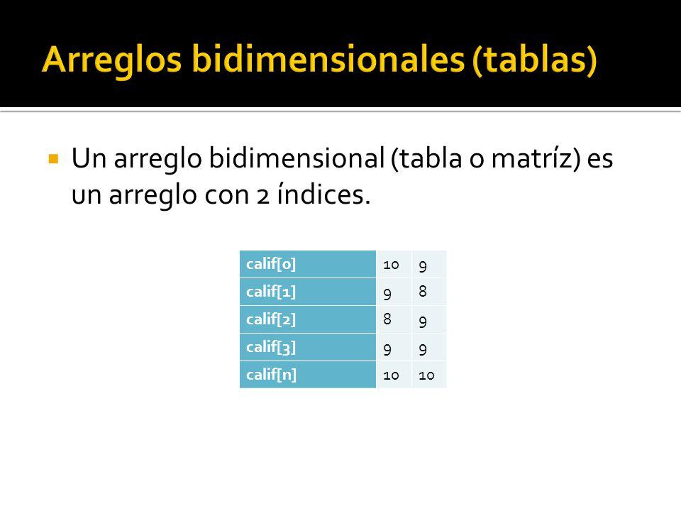 Un arreglo bidimensional (tabla o matríz) es un arreglo con 2 índices.