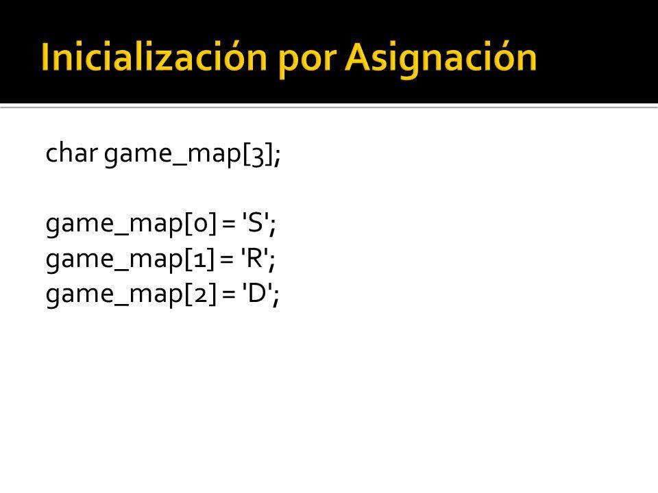 char game_map[3]; game_map[0] = S ; game_map[1] = R ; game_map[2] = D ;