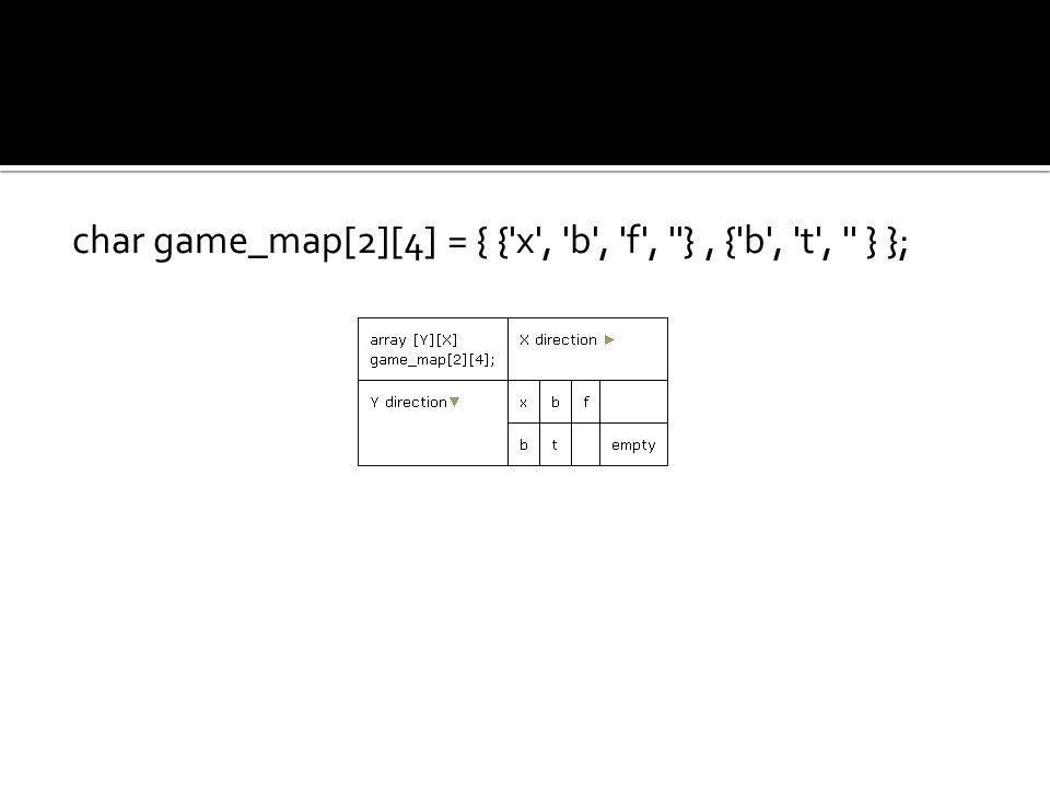 char game_map[2][4] = { { x , b , f , }, { b , t , } };