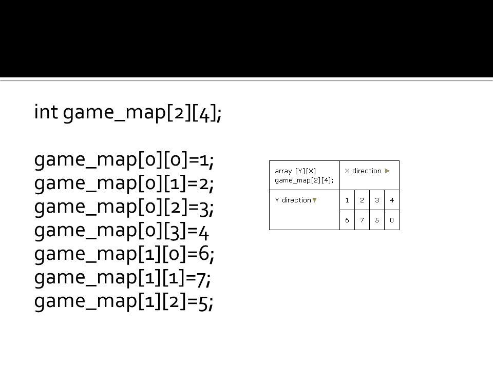 int game_map[2][4]; game_map[0][0]=1; game_map[0][1]=2; game_map[0][2]=3; game_map[0][3]=4 game_map[1][0]=6; game_map[1][1]=7; game_map[1][2]=5;