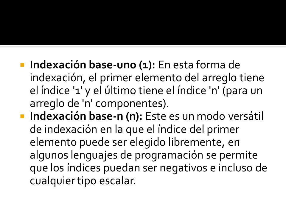 Indexación base-uno (1): En esta forma de indexación, el primer elemento del arreglo tiene el índice 1 y el último tiene el índice n (para un arreglo de n componentes).