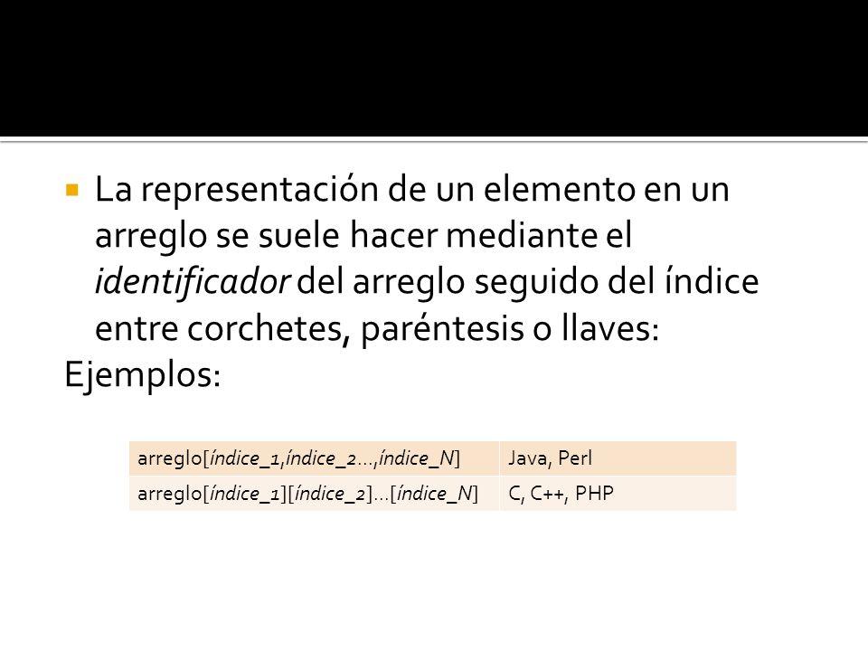La representación de un elemento en un arreglo se suele hacer mediante el identificador del arreglo seguido del índice entre corchetes, paréntesis o llaves: Ejemplos: arreglo[índice_1,índice_2...,índice_N]Java, Perl arreglo[índice_1][índice_2]...[índice_N]C, C++, PHP