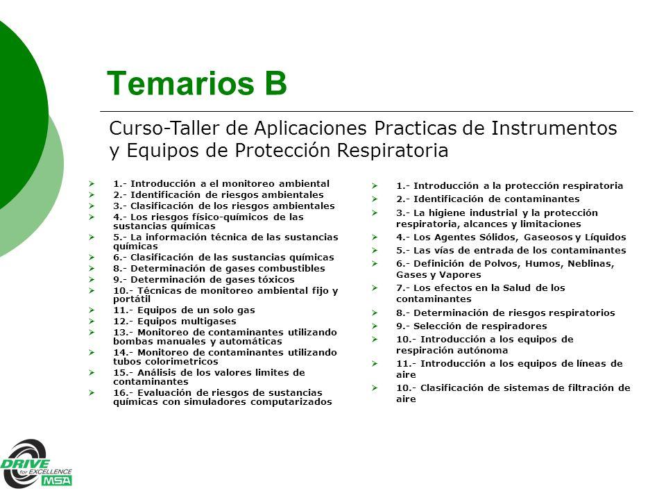 Temarios B 1.- Introducción a el monitoreo ambiental 2.- Identificación de riesgos ambientales 3.- Clasificación de los riesgos ambientales 4.- Los ri
