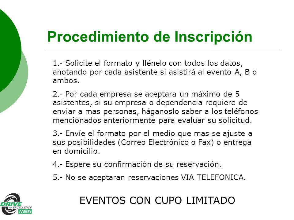 Procedimiento de Inscripción 1.- Solicite el formato y llénelo con todos los datos, anotando por cada asistente si asistirá al evento A, B o ambos. 2.