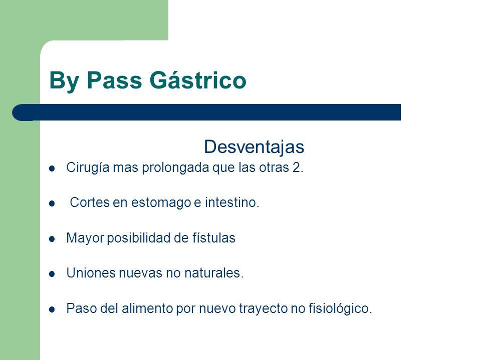 By Pass Gástrico Desventajas Cirugía mas prolongada que las otras 2. Cortes en estomago e intestino. Mayor posibilidad de fístulas Uniones nuevas no n