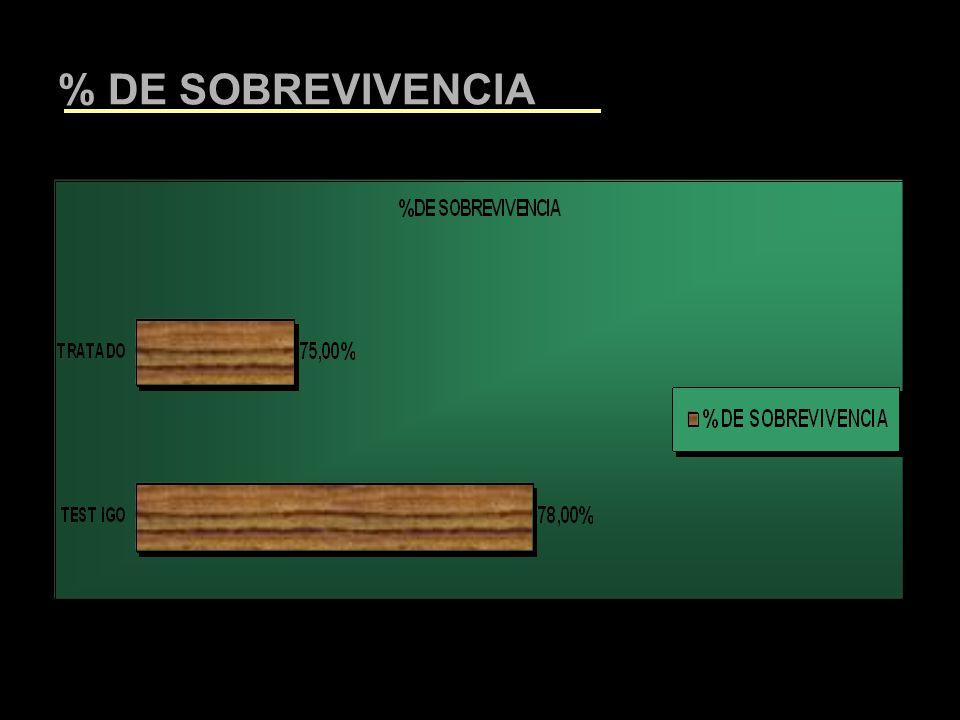 % DE SOBREVIVENCIA