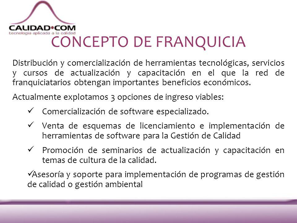 CONCEPTO DE FRANQUICIA Distribución y comercialización de herramientas tecnológicas, servicios y cursos de actualización y capacitación en el que la r