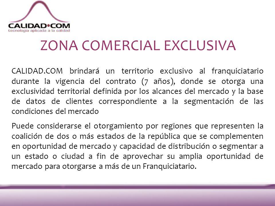 ZONA COMERCIAL EXCLUSIVA CALIDAD.COM brindará un territorio exclusivo al franquiciatario durante la vigencia del contrato (7 años), donde se otorga un