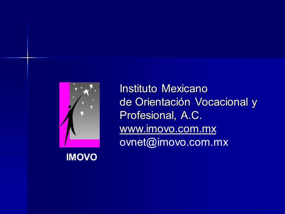 Instituto Mexicano de Orientación Vocacional y Profesional, A.C. www.imovo.com.mx ovnet@imovo.com.mx IMOVO