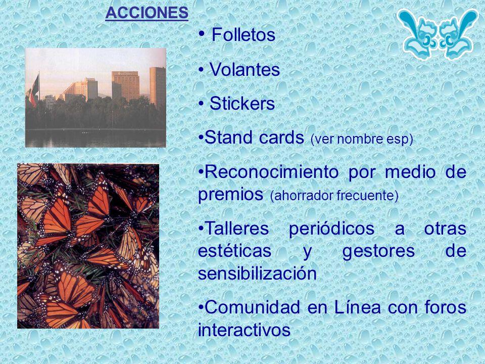 ACCIONES Folletos Volantes Stickers Stand cards (ver nombre esp) Reconocimiento por medio de premios (ahorrador frecuente) Talleres periódicos a otras