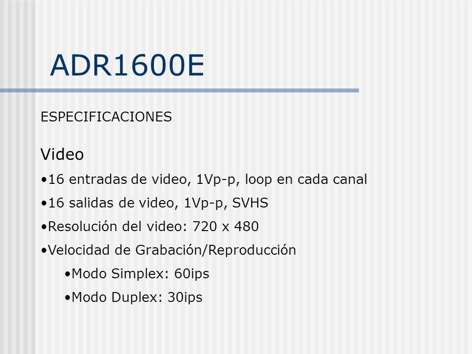 ADR1600E ESPECIFICACIONES Video 16 entradas de video, 1Vp-p, loop en cada canal 16 salidas de video, 1Vp-p, SVHS Resolución del video: 720 x 480 Veloc