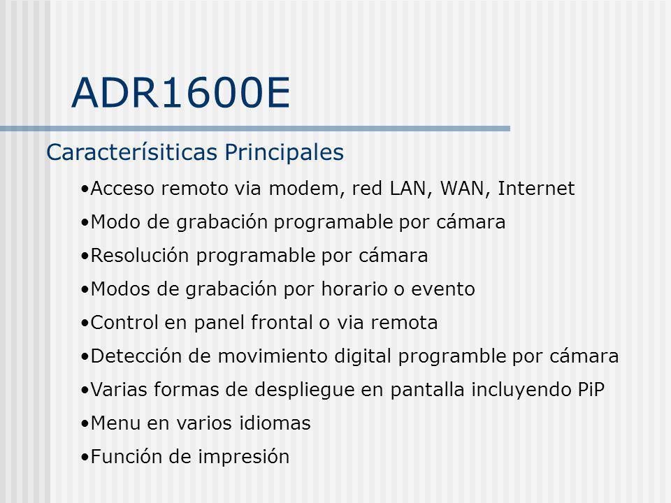 ADR1600E Caracterísiticas Principales Acceso remoto via modem, red LAN, WAN, Internet Modo de grabación programable por cámara Resolución programable
