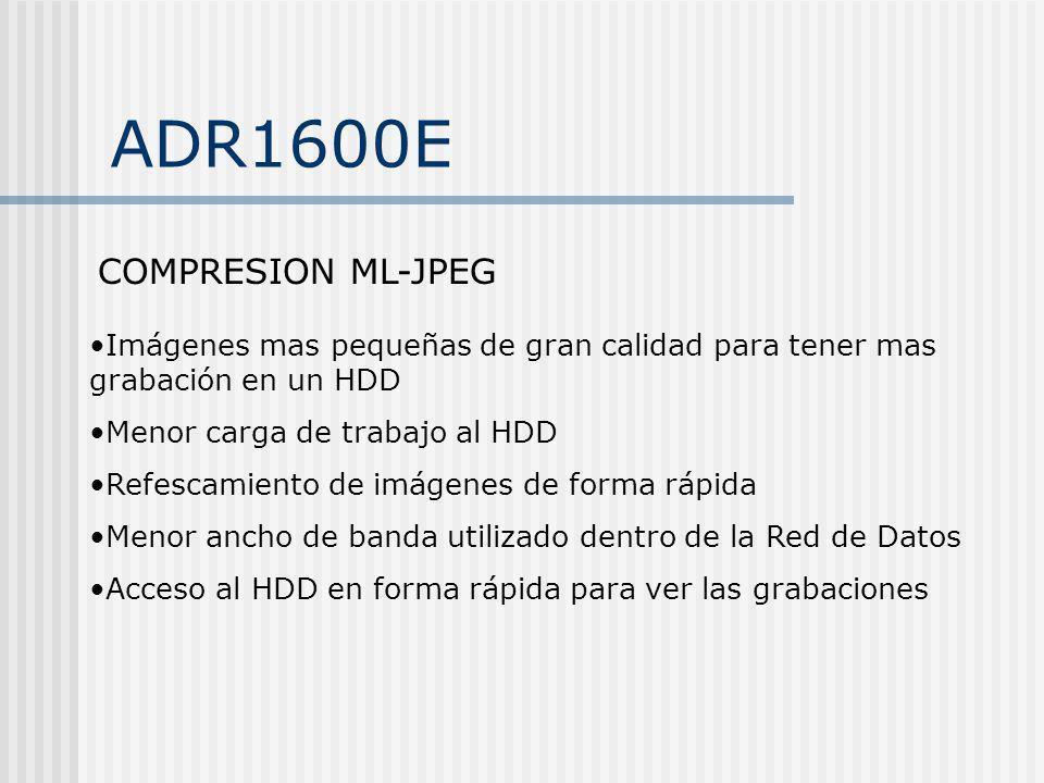 ADR1600E COMPRESION ML-JPEG Imágenes mas pequeñas de gran calidad para tener mas grabación en un HDD Menor carga de trabajo al HDD Refescamiento de im