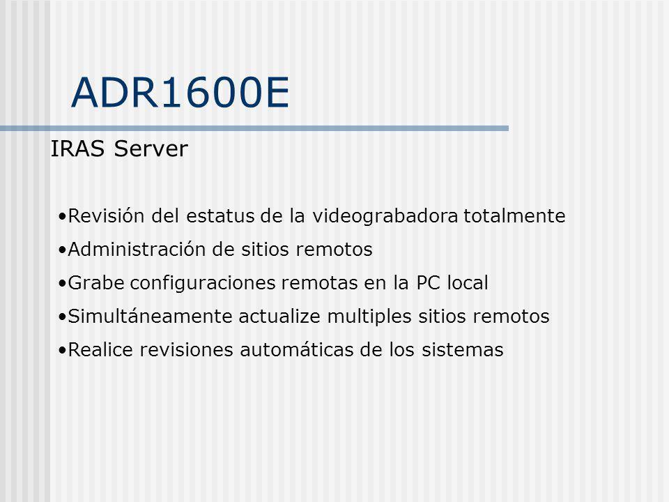 ADR1600E IRAS Server Revisión del estatus de la videograbadora totalmente Administración de sitios remotos Grabe configuraciones remotas en la PC loca