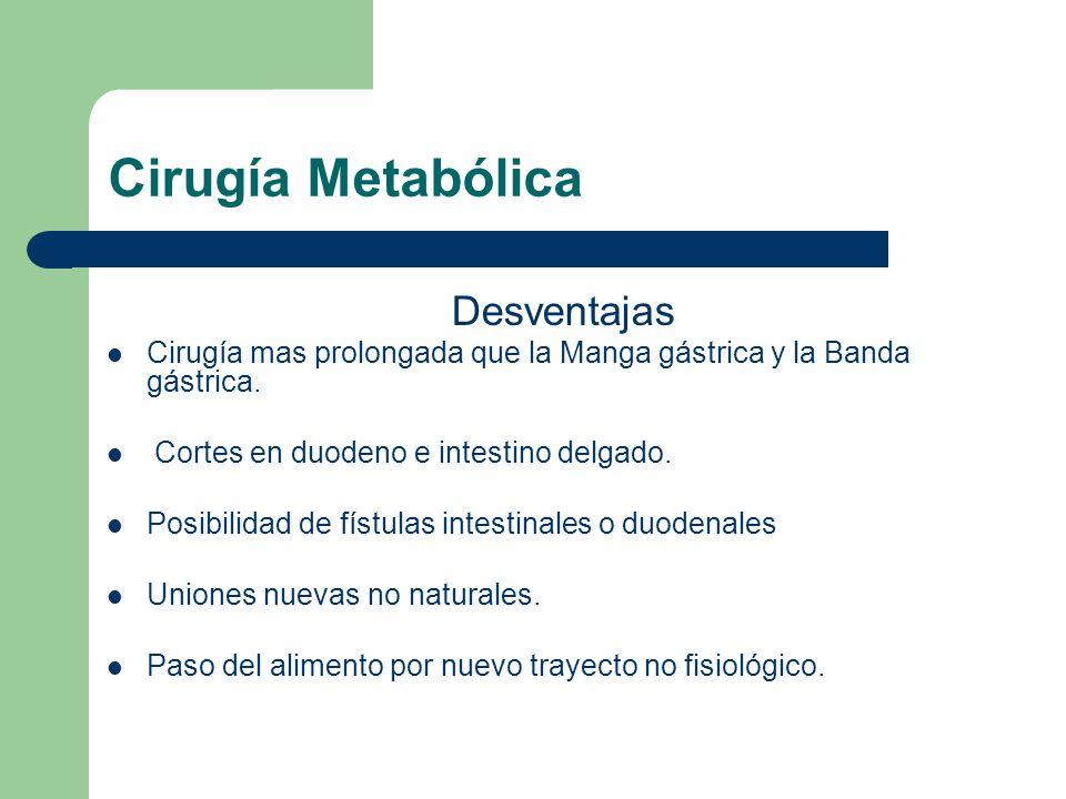 Cirugía Metabólica Desventajas Cirugía mas prolongada que la Manga gástrica y la Banda gástrica. Cortes en duodeno e intestino delgado. Posibilidad de