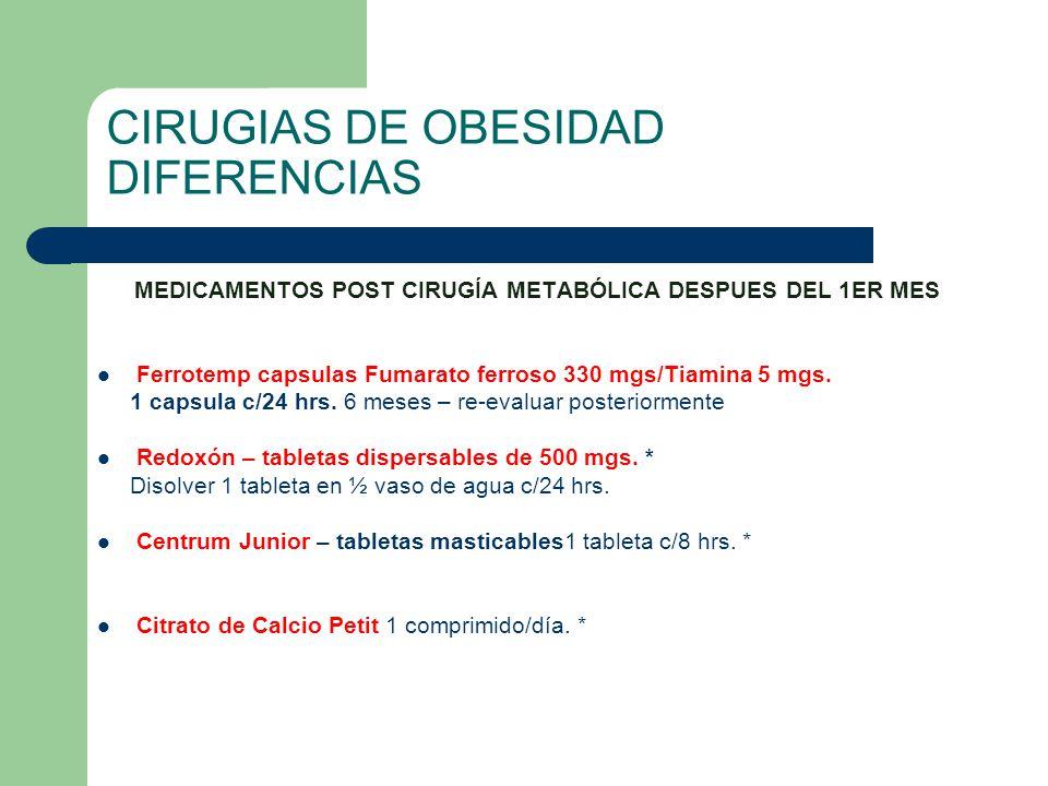 CIRUGIAS DE OBESIDAD DIFERENCIAS MEDICAMENTOS POST CIRUGÍA METABÓLICA DESPUES DEL 1ER MES Ferrotemp capsulas Fumarato ferroso 330 mgs/Tiamina 5 mgs. 1