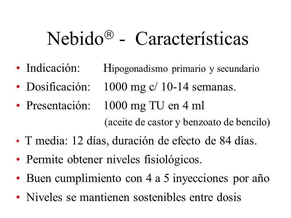 Nebido - Características Indicación: H ipogonadismo primario y secundario Dosificación: 1000 mg c/ 10-14 semanas. Presentación: 1000 mg TU en 4 ml (ac