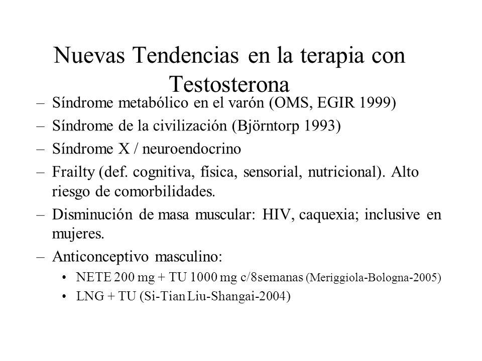Nuevas Tendencias en la terapia con Testosterona –Síndrome metabólico en el varón (OMS, EGIR 1999) –Síndrome de la civilización (Björntorp 1993) –Sínd
