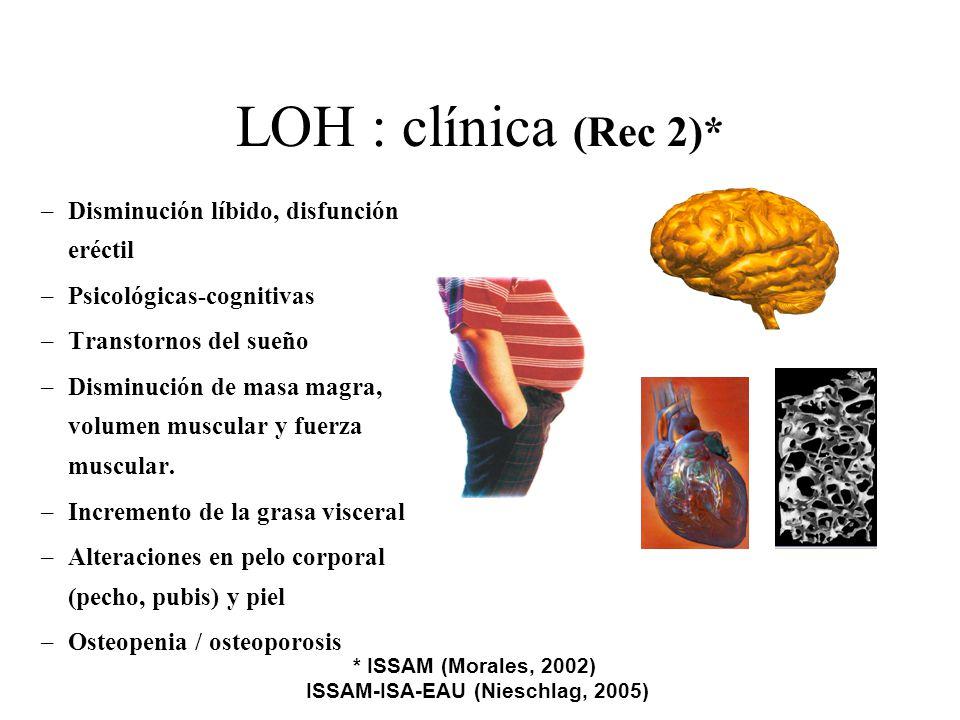 LOH : clínica (Rec 2)* –Disminución líbido, disfunción eréctil –Psicológicas-cognitivas –Transtornos del sueño –Disminución de masa magra, volumen mus