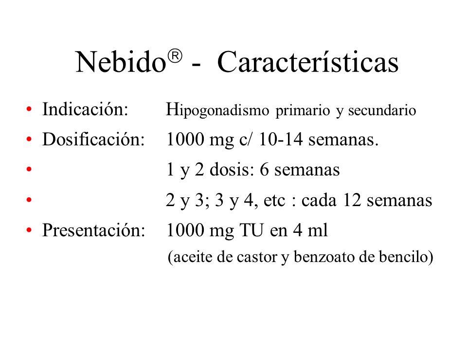 Nebido - Características Indicación: H ipogonadismo primario y secundario Dosificación: 1000 mg c/ 10-14 semanas. 1 y 2 dosis: 6 semanas 2 y 3; 3 y 4,