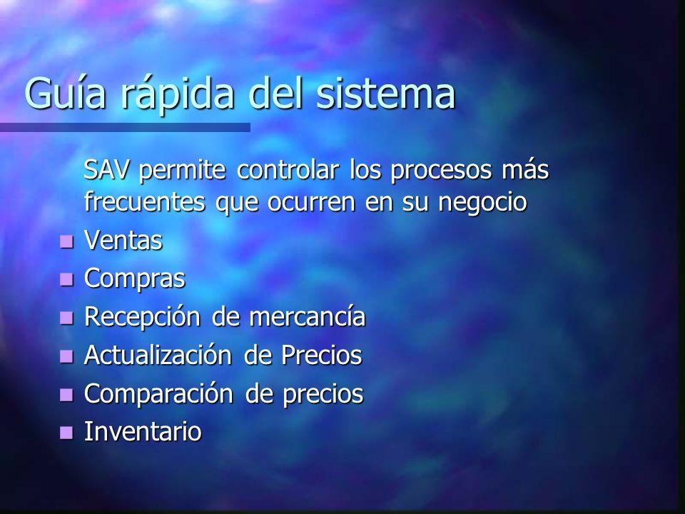 Guía rápida del sistema SAV permite controlar los procesos más frecuentes que ocurren en su negocio SAV permite controlar los procesos más frecuentes