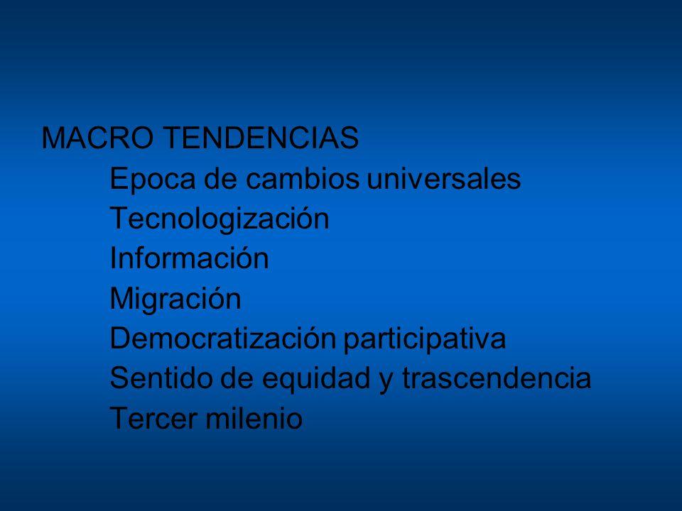 MACRO TENDENCIAS Epoca de cambios universales Tecnologización Información Migración Democratización participativa Sentido de equidad y trascendencia T