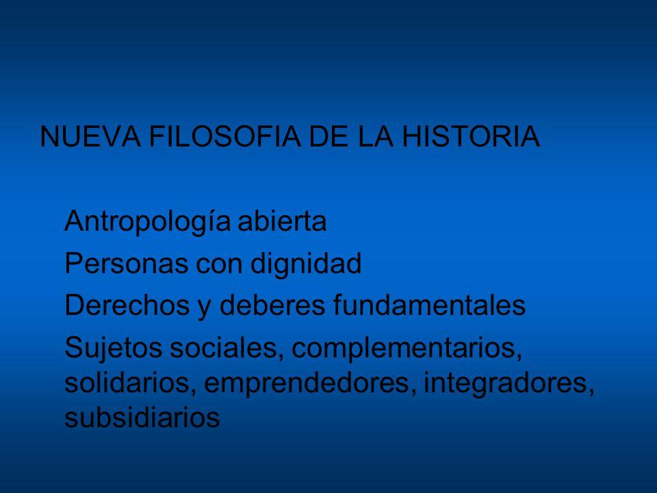 NUEVA FILOSOFIA DE LA HISTORIA Antropología abierta Personas con dignidad Derechos y deberes fundamentales Sujetos sociales, complementarios, solidarios, emprendedores, integradores, subsidiarios