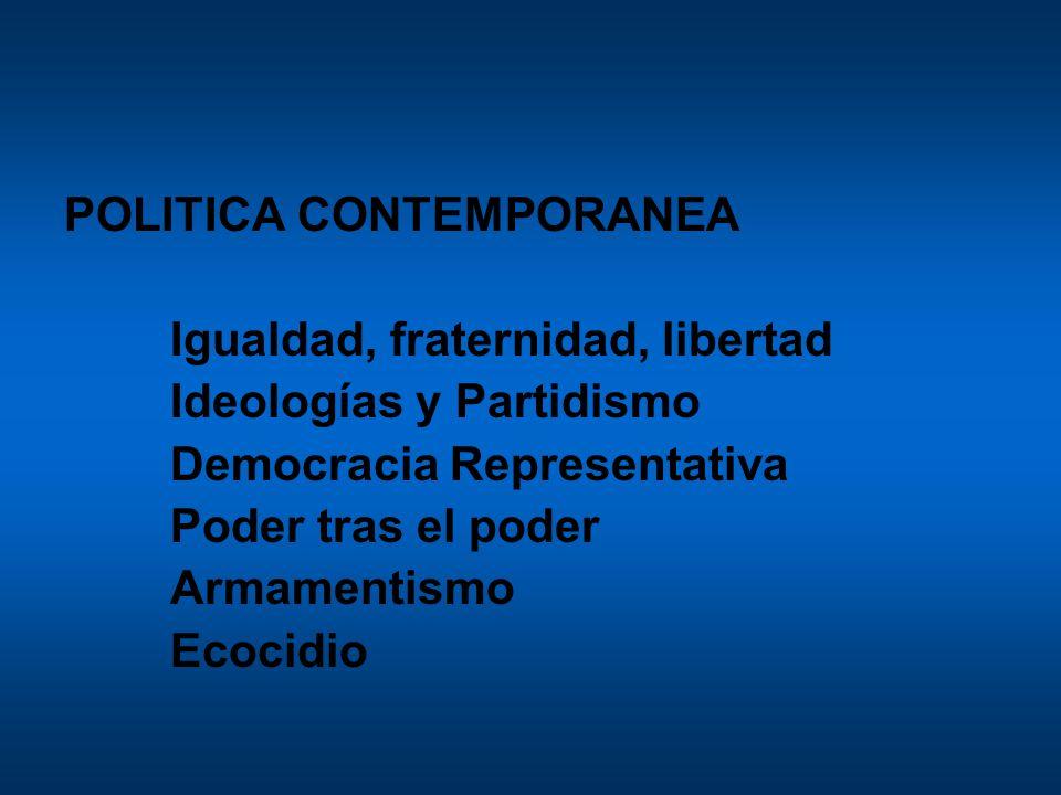 POLITICA CONTEMPORANEA Igualdad, fraternidad, libertad Ideologías y Partidismo Democracia Representativa Poder tras el poder Armamentismo Ecocidio