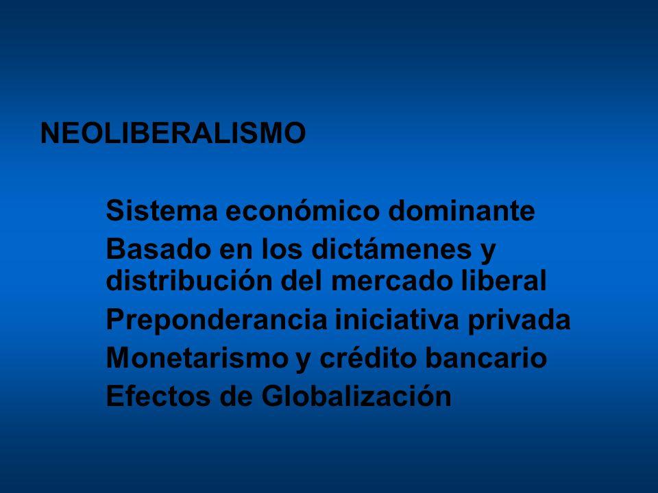 NEOLIBERALISMO Sistema económico dominante Basado en los dictámenes y distribución del mercado liberal Preponderancia iniciativa privada Monetarismo y