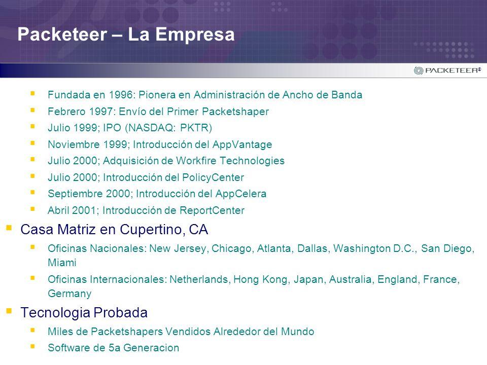 ® Packeteer – La Empresa Fundada en 1996: Pionera en Administración de Ancho de Banda Febrero 1997: Envío del Primer Packetshaper Julio 1999; IPO (NAS