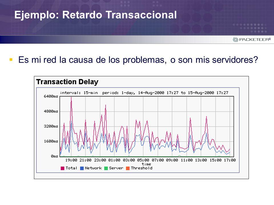 ® Ejemplo: Retardo Transaccional Es mi red la causa de los problemas, o son mis servidores?