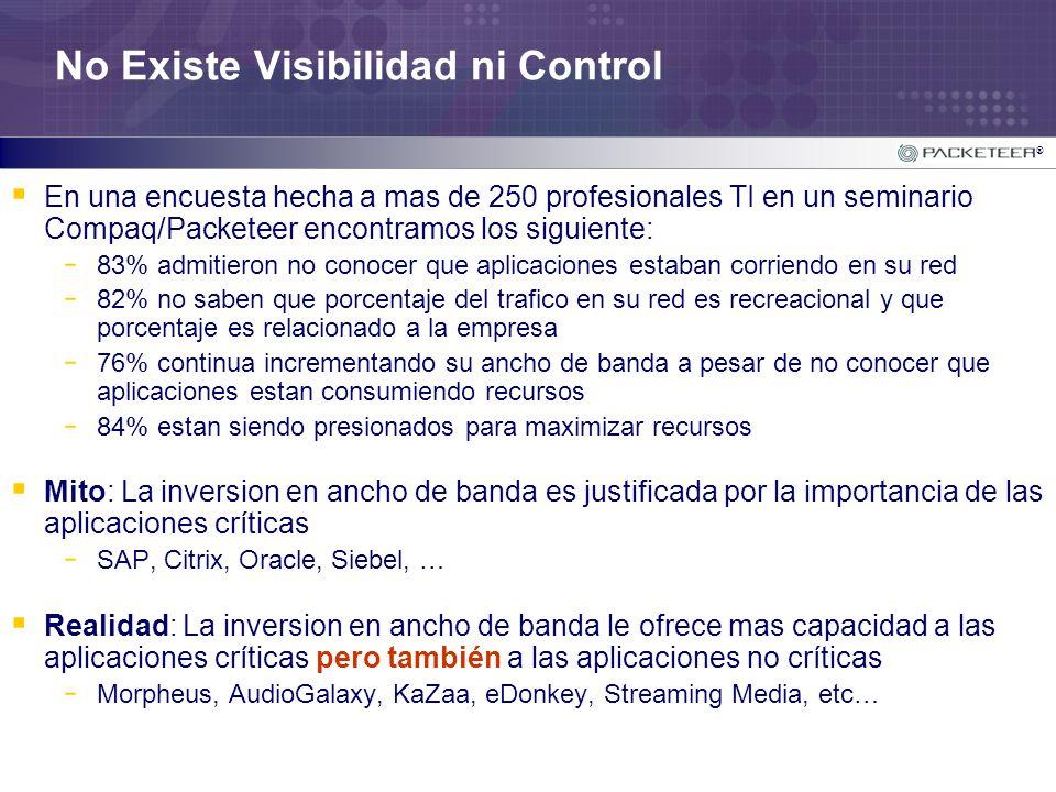 ® No Existe Visibilidad ni Control En una encuesta hecha a mas de 250 profesionales TI en un seminario Compaq/Packeteer encontramos los siguiente: - 8
