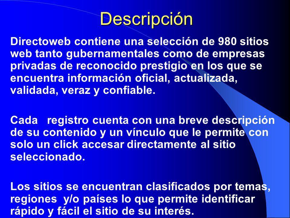 Directoweb Directoweb es el primer directorio electrónico de sitios web especializados en economía, mercadotecnia, relaciones, negocios y comercio internacional.